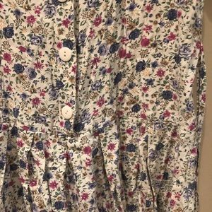 Vintage Pants - Vintage Pleated Floral Drop-Waist Romper Sz 7